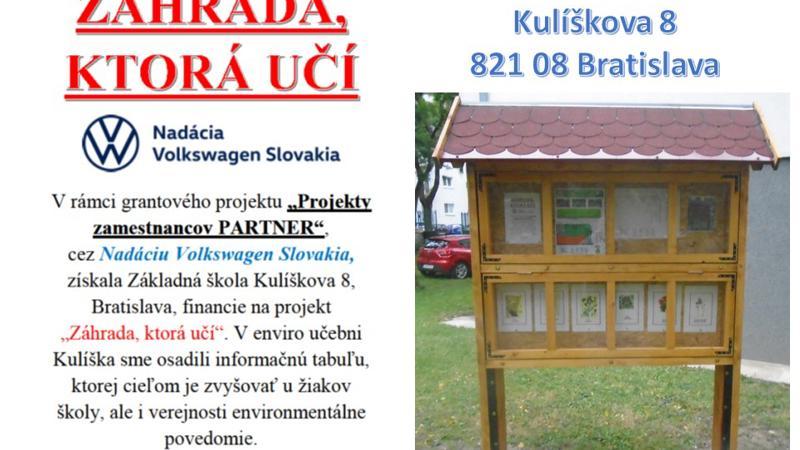 Nadácia Volkswagen Slovakia-podporený projekt Záhrada, ktorá učí